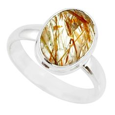 5.06cts natural bronze tourmaline rutile 925 silver solitaire ring size 8 r85273