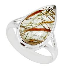 7.89cts natural bronze tourmaline rutile 925 silver solitaire ring size 8 r85320