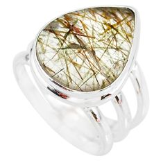 12.04cts natural bronze tourmaline rutile 925 sterling silver ring size 7 r87759