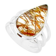 10.35cts natural bronze tourmaline rutile silver solitaire ring size 7 r85285