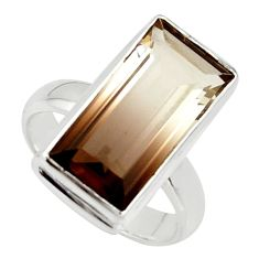 7.98cts natural brown bio smokey topaz 925 silver solitaire ring size 6.5 r39828
