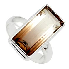8.27cts natural brown bio smokey topaz 925 silver solitaire ring size 8 r39833