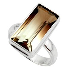 8.63cts natural brown bio smokey topaz 925 sterling silver ring size 8 r44770