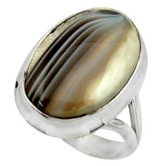 16.63cts natural brown botswana agate 925 silver solitaire ring size 8.5 r28602