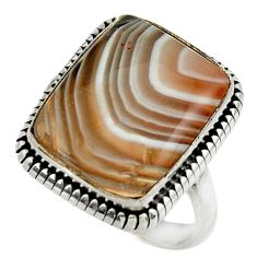 15.38cts natural brown botswana agate 925 silver solitaire ring size 8.5 r28603