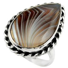 13.85cts natural brown botswana agate 925 silver solitaire ring size 7.5 r28606
