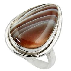14.52cts natural brown botswana agate 925 silver solitaire ring size 8.5 r28665
