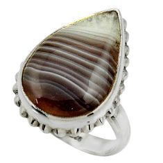 14.52cts natural brown botswana agate 925 silver solitaire ring size 7 r28601