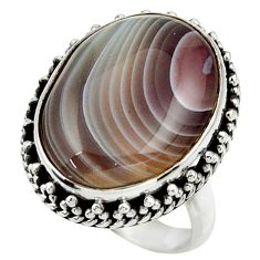 15.56cts natural brown botswana agate 925 silver solitaire ring size 7 r28608
