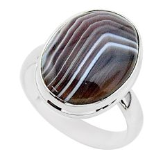 13.22cts natural brown botswana agate 925 silver solitaire ring size 8 r95755
