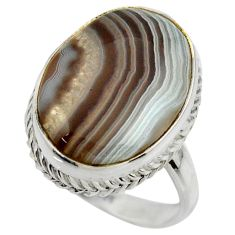 15.80cts natural brown botswana agate 925 silver solitaire ring size 9 r28605