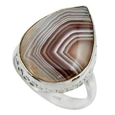 14.57cts natural brown botswana agate 925 silver solitaire ring size 9 r28607