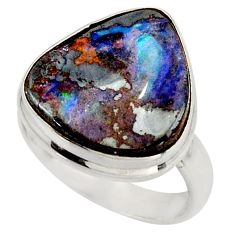 12.07cts natural brown boulder opal 925 silver solitaire ring size 7 d47434