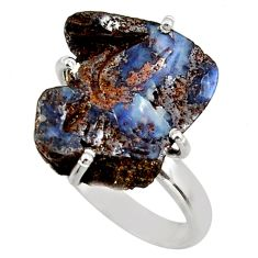 13.15cts natural brown boulder opal 925 silver solitaire ring size 7 d47438