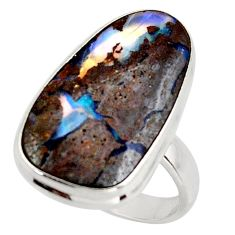 14.88cts natural brown boulder opal 925 silver solitaire ring size 8 d47433