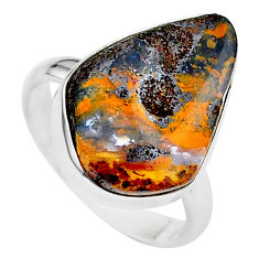 11.07cts natural brown boulder opal 925 silver solitaire ring size 8 t24202
