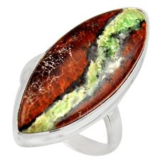 19.72cts natural brown boulder opal 925 silver solitaire ring size 9 d47441