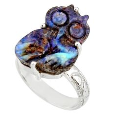 12.52cts natural brown boulder opal carving 925 silver owl ring size 7 r38356