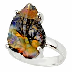 10.31cts natural brown boulder opal carving 925 silver ring size 6.5 r38343