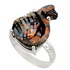 10.28cts natural brown boulder opal carving 925 silver ring size 7.5 r38350
