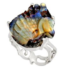14.72cts natural brown boulder opal carving 925 silver ring size 7.5 r38351