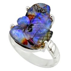 12.36cts natural brown boulder opal carving 925 silver ring size 7 r38359