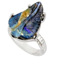 13.28cts natural brown boulder opal carving 925 silver ring size 8 r38353