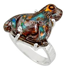 15.47cts natural brown boulder opal carving 925 silver ring size 8 r38354