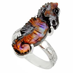 14.72cts natural brown boulder opal carving silver seahorse ring size 8 r38348