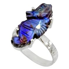 8.49cts natural brown boulder opal carving silver solitaire ring size 7 r30130