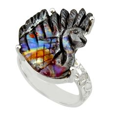14.40cts natural brown boulder opal carving silver solitaire ring size 7 r30170