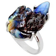 15.10cts natural brown boulder opal carving silver solitaire ring size 8 r30135