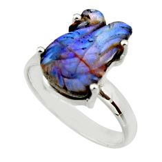 10.30cts natural brown boulder opal carving silver solitaire ring size 8 r30169