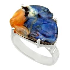 17.29cts natural brown boulder opal carving silver solitaire ring size 9 r30171