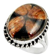 16.46cts natural brown chiastolite 925 silver solitaire ring size 9.5 r28101