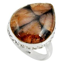 16.79cts natural brown chiastolite 925 silver solitaire ring size 8.5 r28103