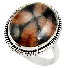 18.96cts natural brown chiastolite 925 silver solitaire ring size 9.5 r28105
