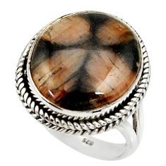 16.85cts natural brown chiastolite 925 silver solitaire ring size 9.5 r28106