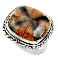 18.17cts natural brown chiastolite 925 silver solitaire ring size 7.5 r28109