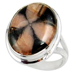 16.92cts natural brown chiastolite 925 silver solitaire ring size 8.5 r28119