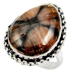 19.99cts natural brown chiastolite 925 silver solitaire ring size 8.5 r28120