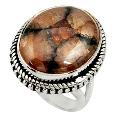 17.06cts natural brown chiastolite 925 silver solitaire ring size 6.5 r28126