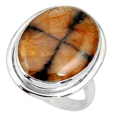 16.92cts natural brown chiastolite 925 silver solitaire ring size 9.5 r28128