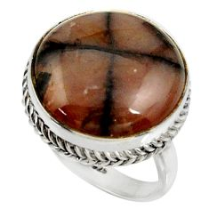 18.53cts natural brown chiastolite 925 silver solitaire ring size 7.5 r28134