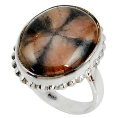 16.70cts natural brown chiastolite 925 silver solitaire ring size 7.5 r28135