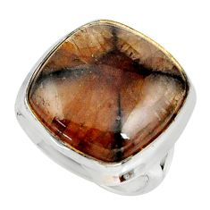 18.51cts natural brown chiastolite 925 silver solitaire ring size 7 r28110