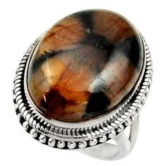 17.02cts natural brown chiastolite 925 silver solitaire ring size 7 r28649