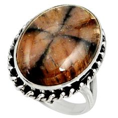 18.17cts natural brown chiastolite 925 silver solitaire ring size 8 r28107