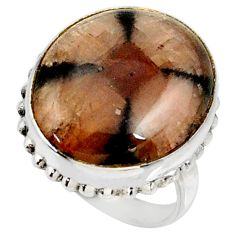 17.67cts natural brown chiastolite 925 silver solitaire ring size 8 r28111
