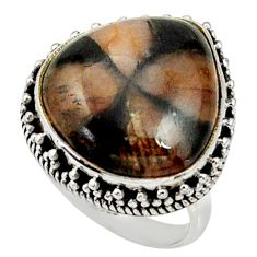 16.00cts natural brown chiastolite 925 silver solitaire ring size 8 r28130